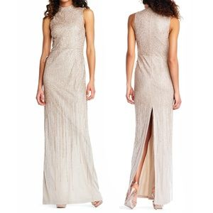 Adrianna Papell Beaded Mock-Neck Evening Gown